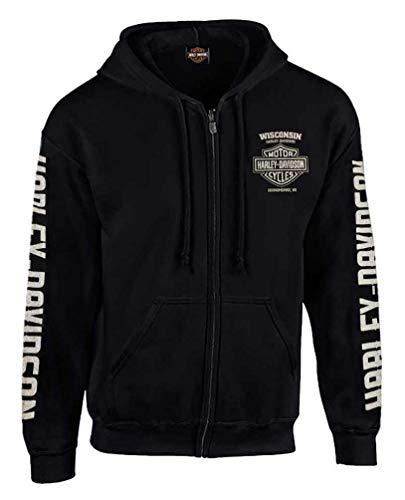 Head Zip Hoodie - Harley-Davidson Men's Vintage Racer Head Distressed Full-Zip Hoodie -Black (2XL)
