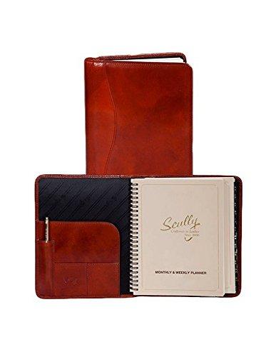 (Scully Accessories Cognac Italian Leather Wirebound Desk Size Planner)