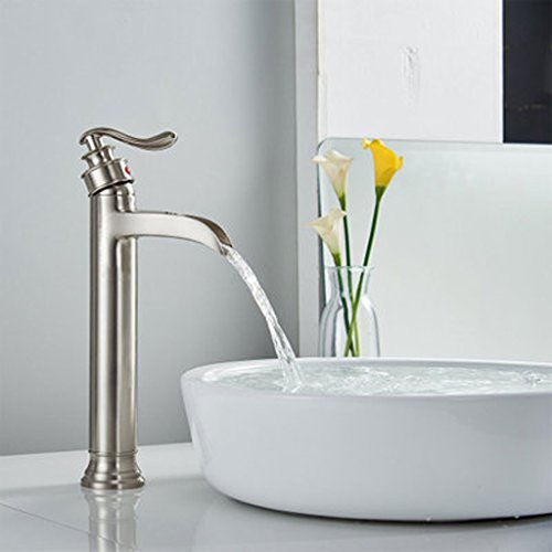 (European black bronze waterfall faucet/bathroom hot and cold above counter basin high tap/retro single hole faucet,B)