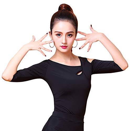 NAKOKOU Strapless Latin Dance Tops Ballroom Dance Salsa Cha cha Rumba Practise T Shirt(M) - Ballroom Top