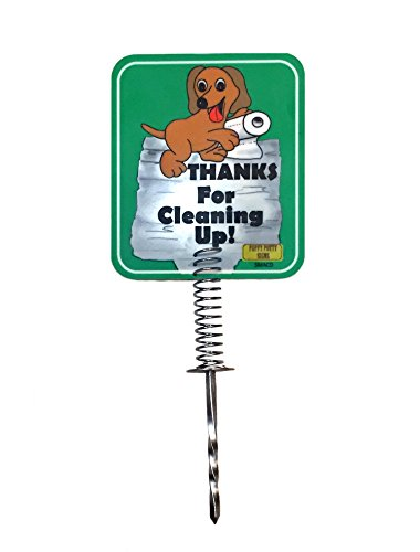 NEW - DOG POOP DISPOSAL YARD SIGN | MADE WITH A METAL STAKE | Tell neighbors THANKS FOR CLEANING UP | No Dog Sign Keeps Dogs & Pets From Pooping or Peeing On the Lawn or Yard (Light Green) Dog Metal Signs