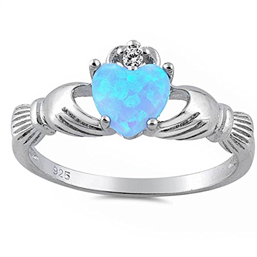 Light Lab Created Blue Opal Claddagh & Cubic Zirconia .925 Sterling Silver Ring Size 7 ()