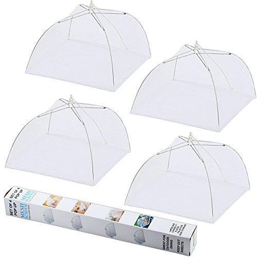 IPOW Pop Up Mesh Screen Umbrella Food Cover Tent,17 Inches Reusable and Collapsible Outdoor Food Cover,Food Protector Tent Keep Out Flies, Bugs, Mosquitoes, 4 Pack