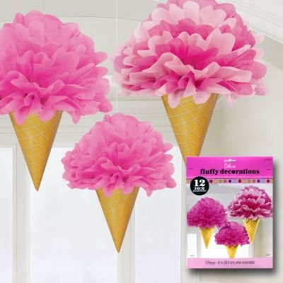 Sweet Stuff Dots and Stripes Birthday Party Ice Cream Fluffy Decorations , Pack of 3, Multi , 12