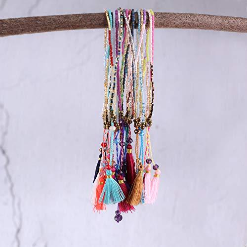 8f15ec3a7f4a1 KELITCH Handmade Macrame Knotted Colour Candy Wide/Bohemia Tassels Woven  Friendship Bracelet 10 PCS (Orange)