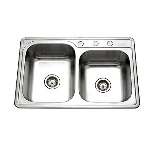 Houzer ISL-3322BS3-1 Glowtone Series Topmount Stainless Steel 3-hole 60/40 Double Bowl Kitchen (1 Glowtone Double Bowl)