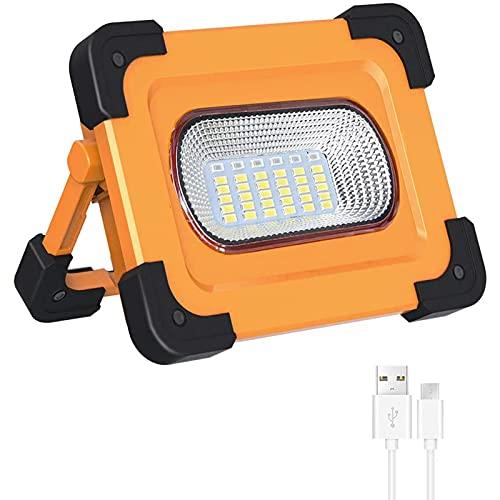 WOERD LED Baustrahler, Arbeitsleuchte Campinglamp Akku, Tragbares Solar LED Arbeitsleuchte Werkstattlampe Tragbar…