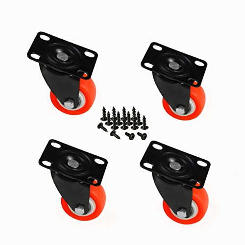 8T8 1.5inch Replacement Top Plate Swivel Caster Wheels 4 Pack - Rubber Base Heavy Duty 440lb for Furniture Removable Carts Stools Tables etc (Non Brake_Orange)