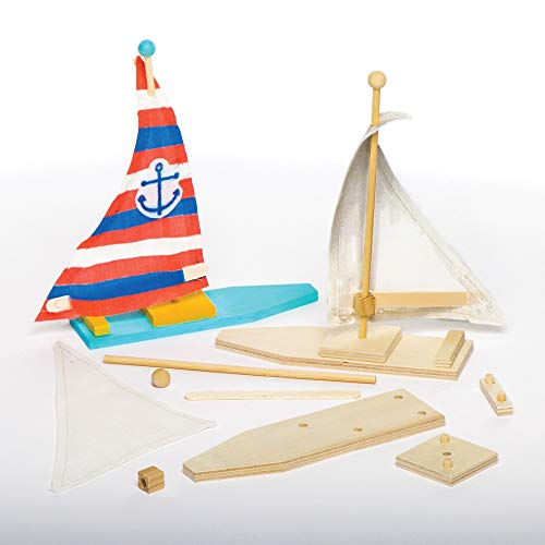 Baker Ross Make Your Own Wooden Sailboat Kits (Pack of 2) for Kids to Decorate and Display