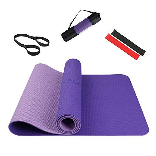 Summer Mae Yogamat, gymnastiekmat, fitnessmat, tweekleurig, gevoerd en antislip, met oriëntatielijn voor fitness, 183 x…