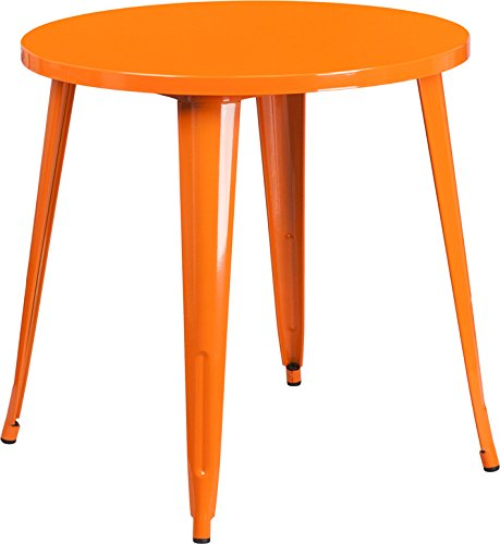 DiscountRoomDecor Premium Quality 30'' Round Orange Metal Table CH-51090-29-OR-GG by Discount Room Décor