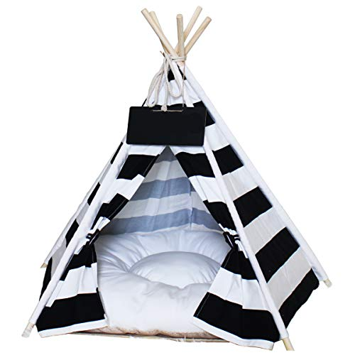 Cheap Penck Pet Teepee Dog & Cat Bed – Portable Dog Tents & Pet Houses with Cushion & Blackboard, 24 Inch, for Pets Up to 15lbs