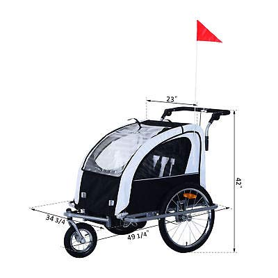 Canvoi Elite II Double Baby Bike Trailer Stroller Child Bicycle Kids Jogger Black