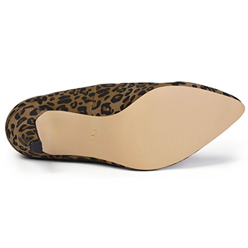 Booties leopard High Pointed Toe Heel Brown Stiletto K Allegra Women Chelsea q8wp4qU