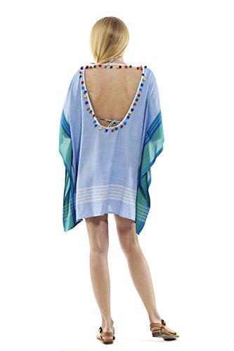 Damen Bikinikleid Überzug Pareo Strandkleid Kleid aus 100% Baumwolle, Designer Bademode Premium Handarbeit Luftig Sommerlich Sommerkleid Schwimmkleid Strandmode Pareos