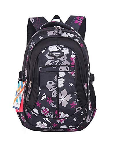 - JiaYou Girl Flower Printed Primary Junior High University School Bag Bookbag Backpack(Style A Black,24 Liters)