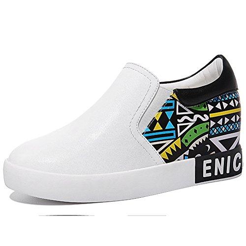 U-MAC Women Increased Inside Sneakers Round Toe Anti-slip Thick Sole Flat Walking Shoes