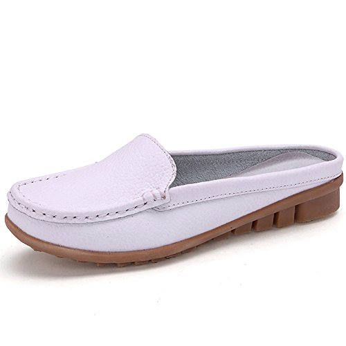 low-cost YING LAN Womens Leather and Faux Leather Open-back Summer Mules