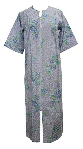 New Miss Elaine Plus Size Blue Floral Print Long Seersucker Robe 2XL