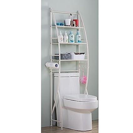 Zhen GUO 3 Shelf Bathroom Space Saver Over Toilet Rack Bathroom ...