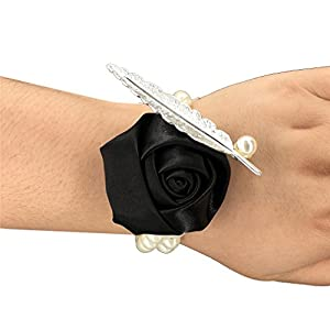 USIX 4pc Pack-Handmade Satin Rose Wrist Corsage With Elastic Pearl Wristband for Girl Bridesmaid Wedding Wrist Corsage Party Prom Flower Corsage Hand Flower 79