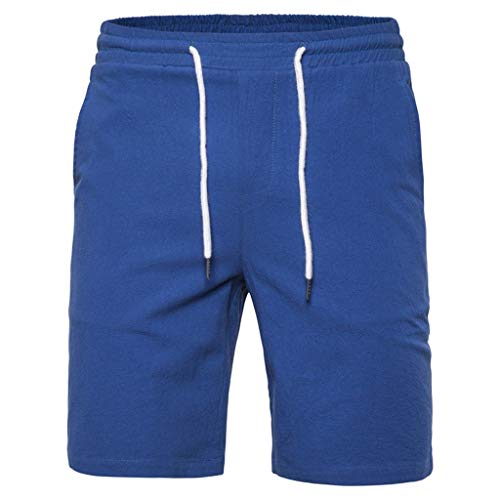 Mens Beach Shorts,Transser Elastic Waist Casual Slim Fitted Surfing Active Solid Pants with Mesh Lining Pocket Blue ()