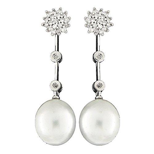 Boucles d'oreilles mariée argent de loi 9252ml avec microengaste en zircon et perle australienne 12mm fermeture pression