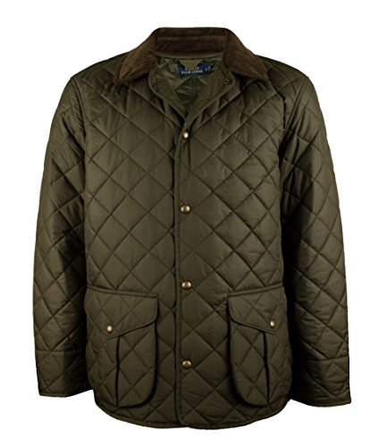 Ralph Lauren Men's Danbury Quilted Car Coat Large Green