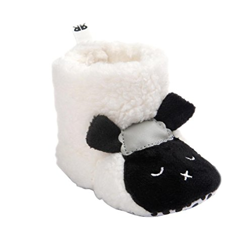 DDLBiz Baby Boy Girl Lovely Sheep Soft Sole Snow Boots Warm Boots (0~6Month /4.3inch, White)