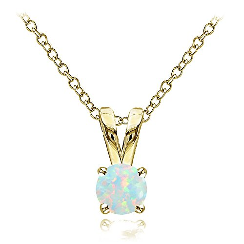 Yellow Gold Flashed Sterling Silver Simulated White Opal Round Solitaire Necklace, 5mm