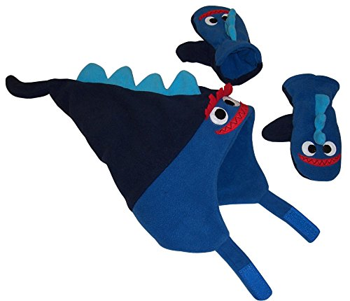 N'Ice Caps Little Boys and Baby Soft Sherpa Lined Fleece Dino Hat Mitten Set (Navy/Neon Blue - Fleece Lined, 18-36 Months)