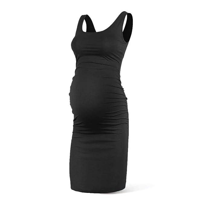 32245b0e5654e Rnxrbb Women Summer Sleeveless Maternity Dress Pregancy Tank Scoop Neck Mama  Clothes Casual Bodycon Clothing,