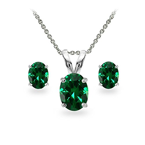 - GemStar USA Sterling Silver Simulated Emerald Oval-Cut Solitaire Necklace and Stud Earrings Set