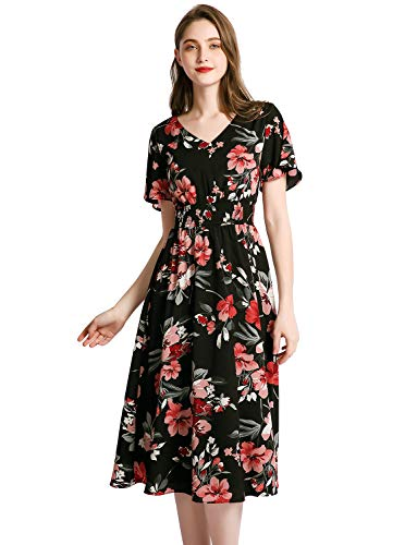 Gardenwed Floral Print Chiffon Summer Dresses for Women Flowy Midi Sundress Bohemian Beach Party Dress Black Pink Flower 3XL (Bohemian Sundress Dress)