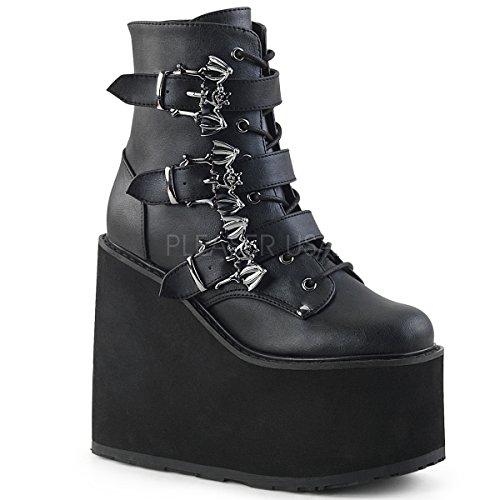 (Demonia Women's SWING-103 Ankle Boot, Black Vegan Leather, 6 M)