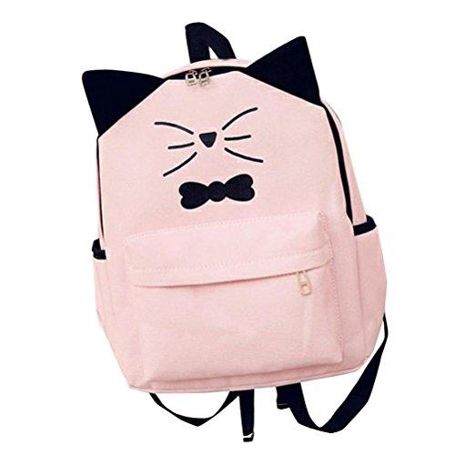 GOODCULLER Women Girls Cute Cartoon Preppy Style School Bag Travel Backpack (Pink)