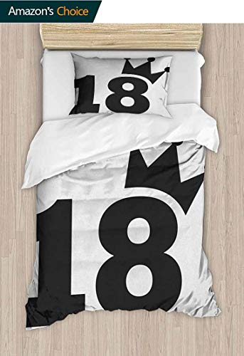 "18th Birthday 2 PCS King Size Comforter Set,Cartoon Soccer Jersey Seem Bold 18 Number Party Sports Playing Art Print Cool 3D Outer Space Bedding Digital Print 59"" W x 78"" L Black and White"