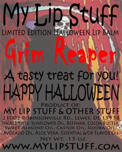 My Lip Stuff- GRIM REAPER (Pumpkin Cheesecake flavor) LIMITED EDITION HALLOWEEN LIP BALM