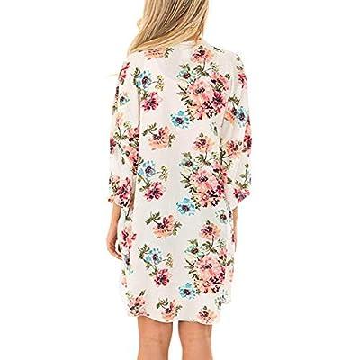 LACOZY Women's Floral Print Kimono Cover Up Sheer Chiffon Blouse Long Cardigan at Women's Clothing store
