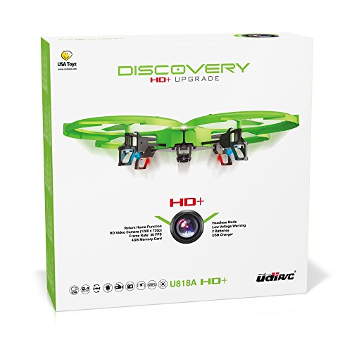 UDI-818A-HD-RC-Quadcopter-Drone-with-HD-Camera-Return-Home-Function-and-Headless-Mode-EXTRA-BATTERY-Doubles-Flight-Time-Lime-Green