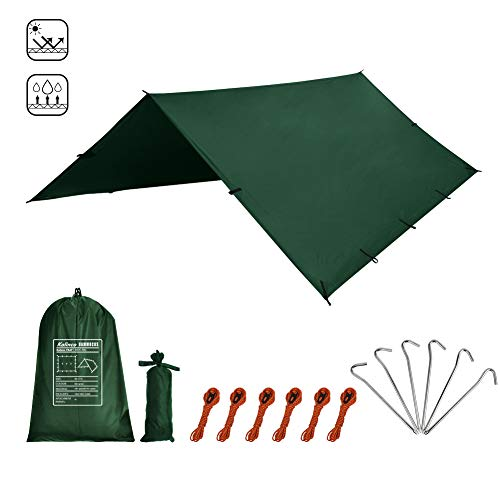 Kalinco Hammock Tarp Tent Camping Rain Fly 10X10 FT Mutifunctional Tarp Footprint Durable Lightweight Quick-Drying Shelter Canopy