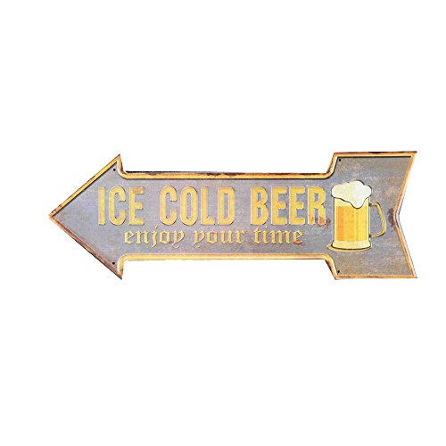 Ochoice Street Signs Embossed Ice Cold Beer Signs for Garage
