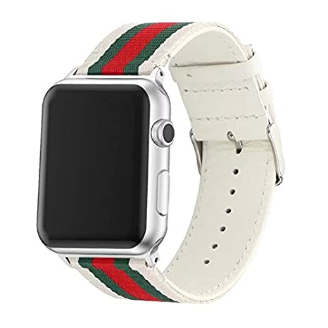 Sport Band Compatible with Apple Watch 38mm 40mm 42mm 44mm, Canvas Style Genuine Leather Sporty Replacement Strap Band iWatch Series 1 Series 2 Series ...