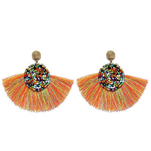 Men's Beaded Rings - MOOCHI Women Colorful Round Semi-Circle Bohemian Beaded Drop Tassel Hoop Dangle Earrings Rainbow Mix
