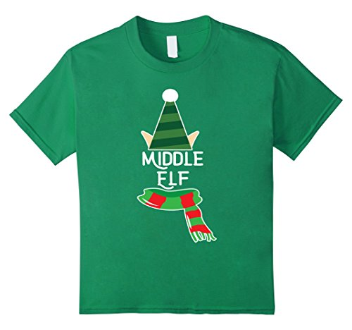 Kids Middle Elf Shirt Christmas Holiday Season Elf Suit 6 Kelly Green
