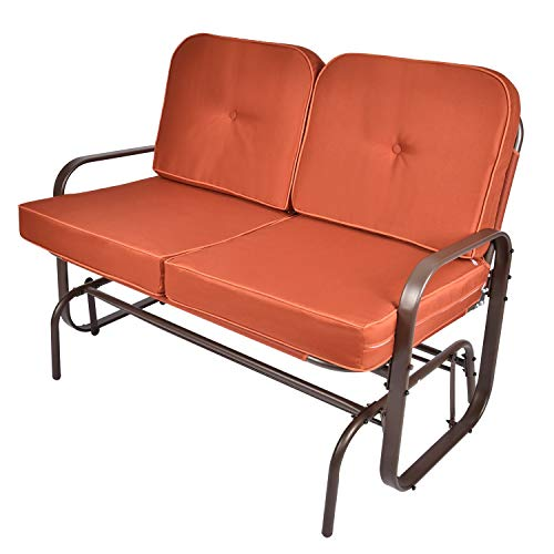 Outdoor Swing Glider Rocking Chair Patio Bench for 2 Person, Garden Loveseat Seating Patio w UV-Resistant Cushions Orange
