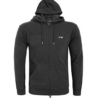 Armani Jeans Hommes Fermeture éclair Sweat à Capuche Logo Pull Noir, Gris S, 308492017ca