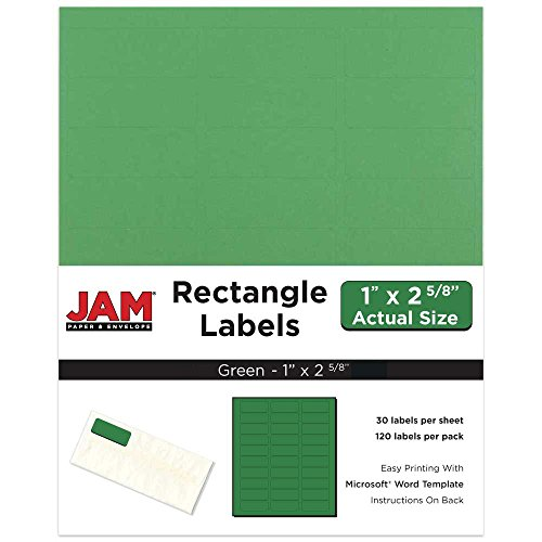 (JAM PAPER Shipping Address Labels - Standard Mailing - 1 x 2 5/8 - Green - 120/Pack)