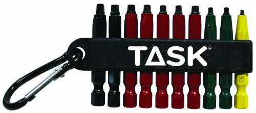 Task Tools T67917 Robertson Assorted Screwdriver Power Insert Bits with Carabineer Clip, 10-Piece, Box of - Power Robertson Bit