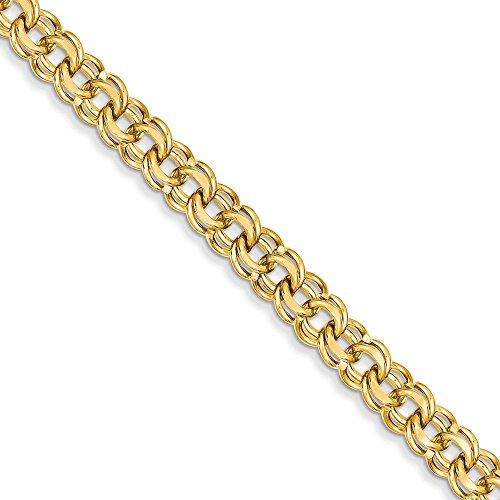 """14 carats 8 """"19 mm, Double Link-Bracelet à charms-Fermoir mousqueton-JewelryWeb"""